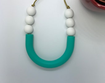 Teething Necklace | Sensory U-Tube Bar Silicone | Necklace | New Baby | Baby Shower Gift | Mum to Be