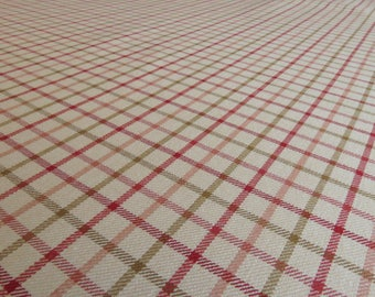 Red, Green, Salmon, Beige Plaid Fabric BY THE YARD