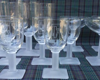 21 Art Deco New Era Monogrammed Heisey 4044. Etched and monogramed vintage glasses made between 1934 and 1941.