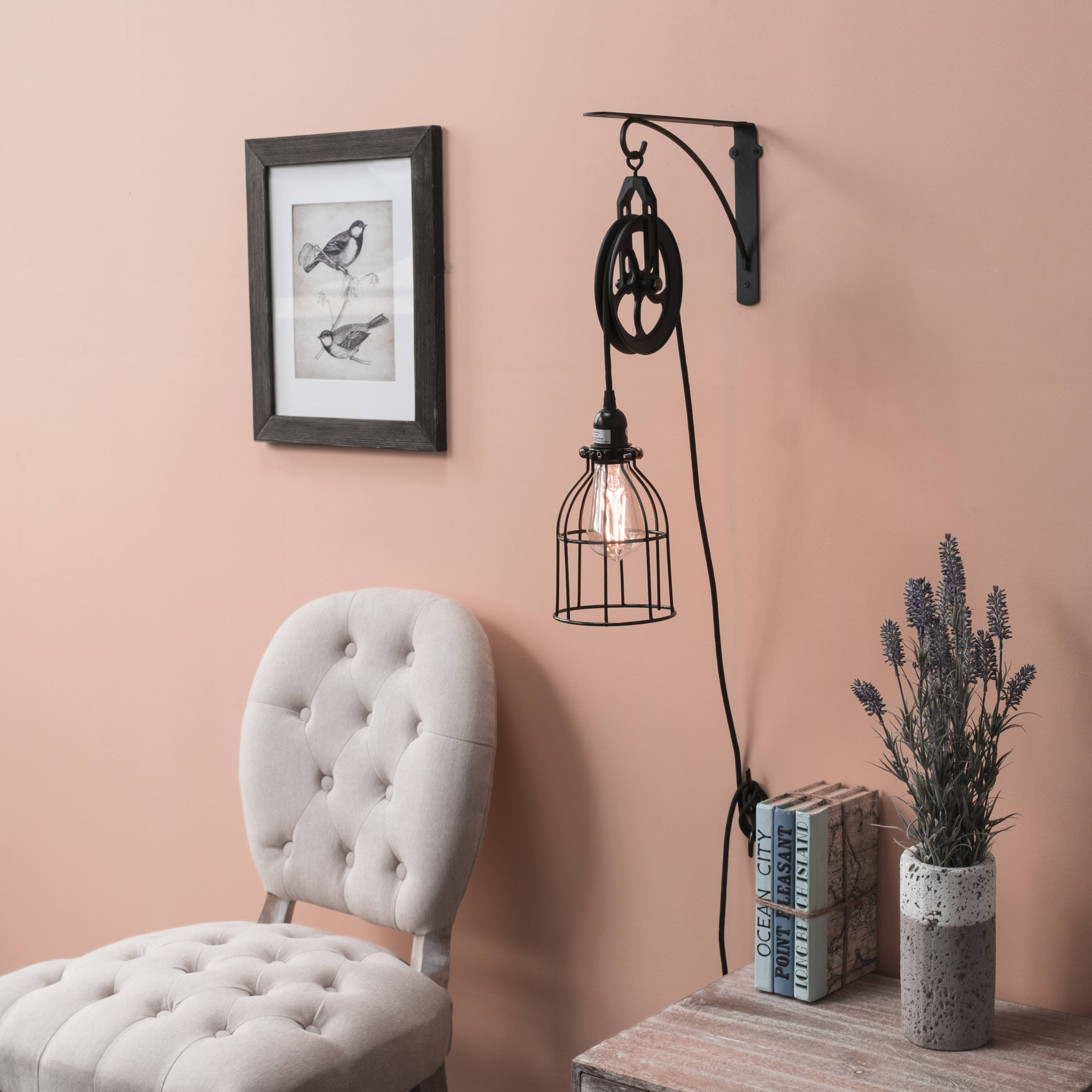 Industrial Pulley Plug In Wall Sconce Cage Pendant With Iron