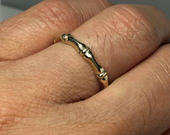 14k/10k Solid Gold Bamboo Rings - Gold Couple Rings - Gold Wedding Band - Gold Pinky Ring - Gold Thumb Ring - Gold Friendship Ring