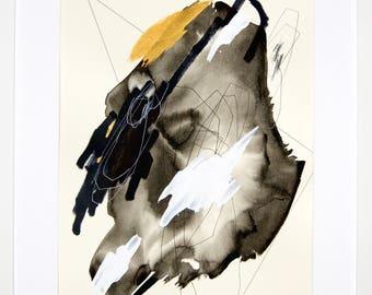 Original abstract illustration, no. 0628, mixed media on paper, 35x50cm. 2017