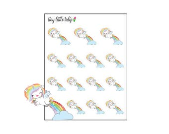 Planner Stickers Rainbow Unicorn Flying