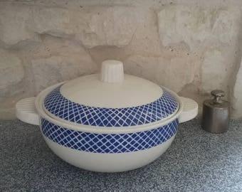 Soup tureen or vegetable dish, Vintage opaque porcelain BADONVILLER tureen antique white and blue, made in France