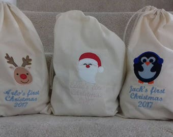 Personalised 1st Christmas santa sacks. Personalised sacks first Christmas. Perfect for little ones.