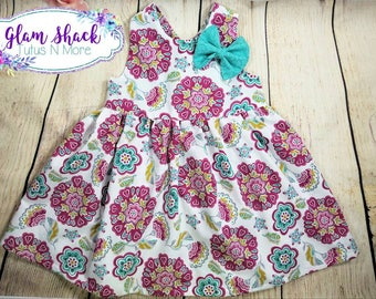 Baby dress, gathered baby dress, criss cross dress, floral baby dress