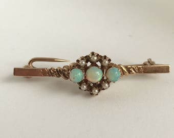 Victorian Edwardian opal and seed pearl brooch 10k gold brooch