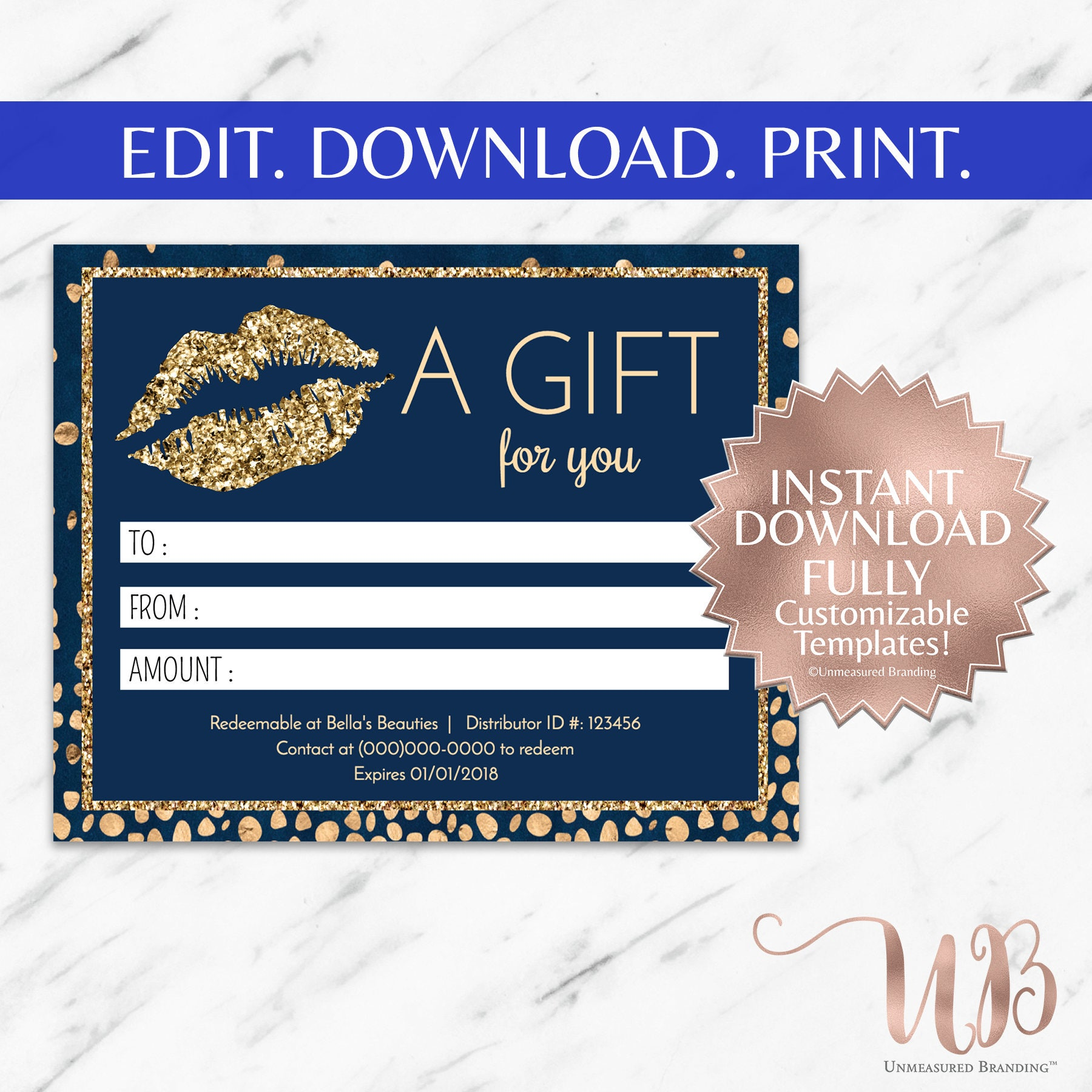 Navy blue and gold glitter lipsense and makeup gift certificate navy blue and gold glitter lipsense and makeup gift certificate template yelopaper Images