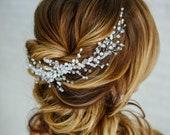 Headpiece bridal hair vine crystal opal Hair comb bridal Something blue for Bride hair accessories Wedding hair piece Prom Hair jewelry