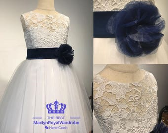 Ivory Lace Flower Girl Dresses Girls Special Occasion Pageant Tulle Junior Bridesmaid Wedding Party Dress With Navy Sash Knee Length