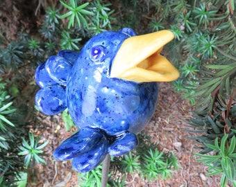Fun bird, Sparrow, blue, Garden decor, Garden plug, patch plug, unique, plant plugs, gift, gifts,