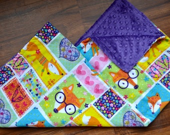 Fox Baby Blanket: minky baby blanket, flannel baby blanket, baby gift, baby shower gift, baby girl gift, baby boy gift, fox baby gift