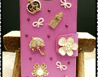 handmade iPhone 7 plus wallet case with cutie charms