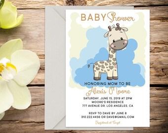 Baby Boy shower invite, Giraffe baby shower, baby boy invitation, shower invitation, printable invitation, digital invitation template