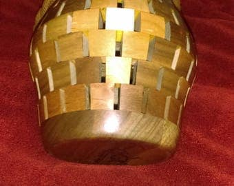 187 piece Walnut, Cherry, and Maple Vase Handcrafted Uniqely Designed