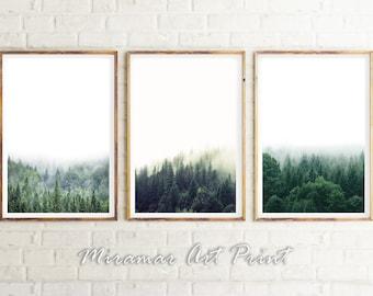 Set Of 3 Forest, Landscape Set Of 3, Wilderness Poster, Minimalistic  Printable Set