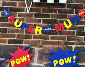 Super mum birthday banner. Best mum. Happy birthday mum. Birthday decoration mum mummy super hero mum birthday bunting garland