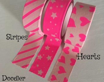 Washi tape, pink washi tape, heart washi, star washi,