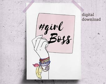 Girl Boss Poster, Gift for Women Boss Office Space Decor, Woman Office Art, Boho Office Decor Printable, Girl Boss Print, Boss Lady Wall Art