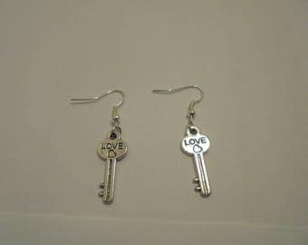"""Love key"" Silver earrings"