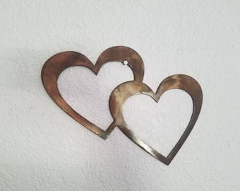 Copper heart.  Metal art.