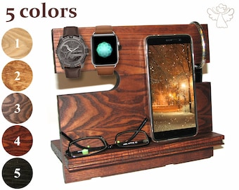 Docking station wood Charging station organizer wood Charging dock Apple watch stand iWatch dock iPhone stand iPhone holder Gifts for men