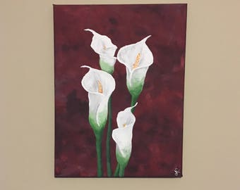 12x16 Cala lily canvas painting