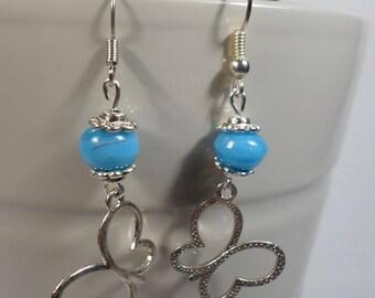 Blue beads, butterfly charm earrings