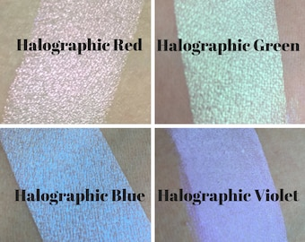 Halographic Collection, Color shifting Red Blue Green Violet, Vegan and Cruelty Free, Mineral Makeup