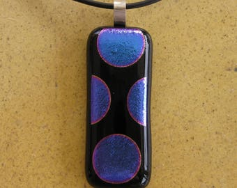 Silver and black and purple-blue fused glass art fused glass, necklace silver bail