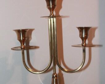 Brass Candelabra, Three Tiered Candelabra, Vintage Brass Three Tiered Candelabra, Christmas Candelabra, Wedding Candelabra