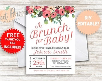 DIY Baby Shower Brunch Invite Invitation 5x7 Editable Baby Sprinkle Do It Yourself Floral Flowers Fern Leaves Pink Font #34.0