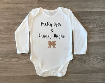 Pretty Eyes & Chunky Thighs vest, glitter bow, perfect for any baby girl, christening gift, baby shower gift, birthday present