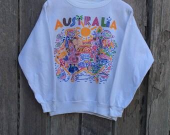 Rare! Vintage KEN DONE Australian Designer Pop Art Under Down Australia Crew Neck Pullover Sweatshirt White Colour