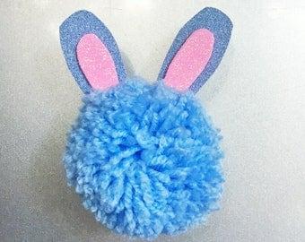 Pom Pom Cat & Bunny Rabbit Glitter Magnets