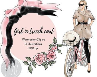 Girl in Trench coat Watercolor Fashion Illustration Clipart