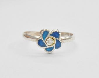 Toe Ring, Sterling Toe Ring, Enamel Toe Ring, Silver Toe Ring, Flower Toe Ring, Sterling Silver Enamel Teal Blue Flower Toe Ring #1130