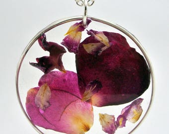 Red Rose Petal Pendant, resin flower jewelry, dried flowers, pressed flowers, rose petal necklace, real flower necklace