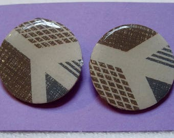 Large circle shaped paper earrings- brown and blue peace signs