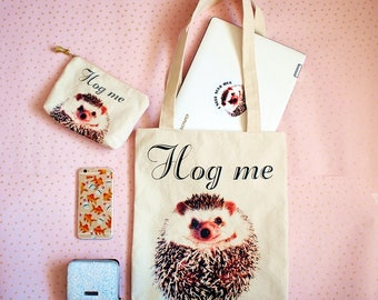 Hedgehog tote bag and Hedgehog pouch set, Hedgehog gift, Hedgehog purse, Shopping bag, Cosmetic bag, Canvas tote bag, Gift for her