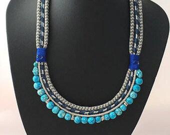 Turquoise necklace, boho necklace, statement necklace, beaded necklace, seed beads necklace, choker necklace, Tribal Necklace, necklace sale