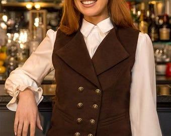 Lady's Regency Waistcoat (Chestnut Moleskin)