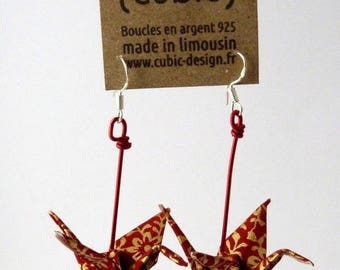 Origami crane arabesque gold earrings