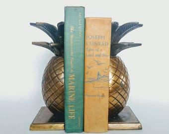 Old sea books, vintage ocean books, green book set, marine life books, green books, vintage land and sea books, bookshelf decor books