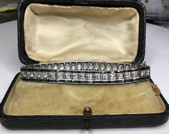 Estate Antique Art Deco Platinum 8.20 CTW Diamond Natural Sapphire Tennis Bracelet