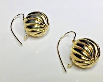 Estate Italian Designer 18K Yellow Gold Swirl Ball Earrings 9 Grams