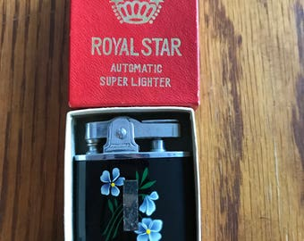 Vintage collectible black with blue flowers Royal Star automatic super lighter cigarette lighter in original box made in Japan