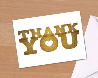 Thank you, Thanks, Thank You Card, Typographic, Typography, Gold, Simple Thank you card, Wedding Thank You, Teacher Thank you