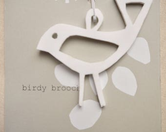 birdy perspex brooch, white opaque perspex brooch, bird brooch, acrylic brooch, lasercut brooch, unique gift, quirky, handmade UK