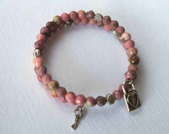 Rhodonite and Tibetan Silver Memory Wire Wrap Bracelet. One size fits all.